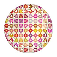 Multicolored Floral Pattern Ornament (round Filigree) by linceazul