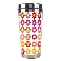 Multicolored Floral Pattern Stainless Steel Travel Tumblers by linceazul