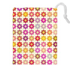 Multicolored Floral Pattern Drawstring Pouches (xxl) by linceazul