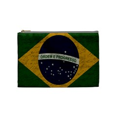 Vintage Flag   Brasil Cosmetic Bag (medium)  by ValentinaDesign
