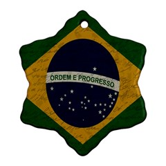 Vintage Flag   Brasil Snowflake Ornament (two Sides) by ValentinaDesign