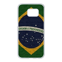 Vintage Flag   Brasil Samsung Galaxy S7 Edge White Seamless Case by ValentinaDesign
