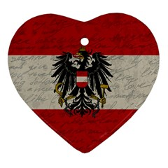 Vintage Flag   Austria Heart Ornament (two Sides) by ValentinaDesign