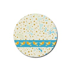 Birds And Daisies Rubber Round Coaster (4 Pack)  by linceazul
