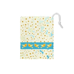 Birds And Daisies Drawstring Pouches (small)  by linceazul