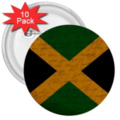Vintage Flag   Jamaica 3  Buttons (10 Pack)  by ValentinaDesign