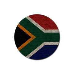 Vintage Flag   South Africa Rubber Coaster (round)  by ValentinaDesign