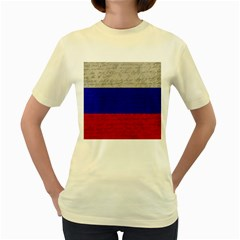 Vintage Flag   Russia Women s Yellow T Shirt by ValentinaDesign