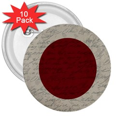 Vintage Flag   Japan 3  Buttons (10 Pack)  by ValentinaDesign
