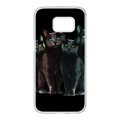Cats Samsung Galaxy S7 Edge White Seamless Case by Valentinaart