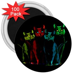 Cats 3  Magnets (100 Pack) by Valentinaart