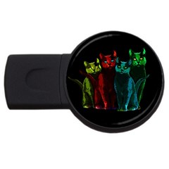Cats Usb Flash Drive Round (2 Gb) by Valentinaart