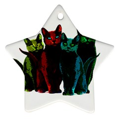Cats Star Ornament (two Sides)