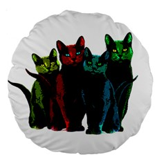 Cats Large 18  Premium Round Cushions by Valentinaart