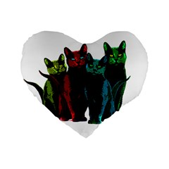 Cats Standard 16  Premium Flano Heart Shape Cushions by Valentinaart