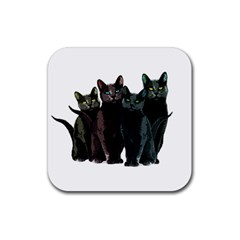 Cats Rubber Square Coaster (4 Pack)