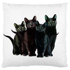 Cats Large Flano Cushion Case (one Side)