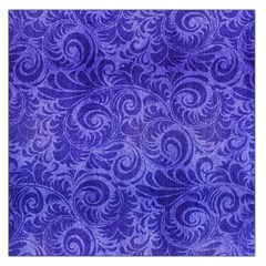 Vibrant Blue Romantic Flower Pattern Large Satin Scarf (square) by Ivana