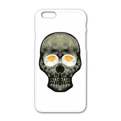 Skull With Fried Egg Eyes Apple Iphone 6/6s White Enamel Case by dflcprints
