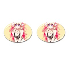 Blonde Hair Bikini Furry Girl Cufflinks (oval) by Catifornia