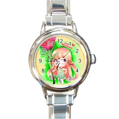 Happy Mother s Day Furry Girl Round Italian Charm Watch by Catifornia