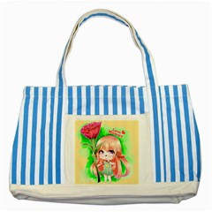 Happy Mother s Day Furry Girl Striped Blue Tote Bag by Catifornia