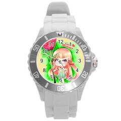 Happy Mother s Day Furry Girl Round Plastic Sport Watch (l) by Catifornia