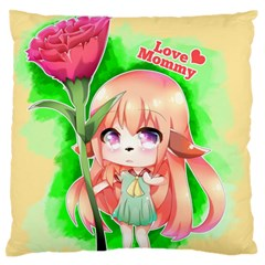 Happy Mother s Day Furry Girl Large Flano Cushion Case (one Side) by Catifornia
