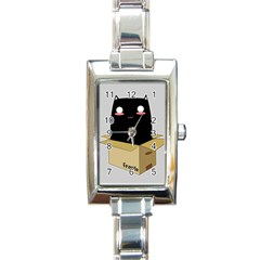 Black Cat In A Box Rectangle Italian Charm Watch by Catifornia