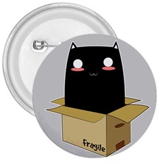 Black Cat In A Box 3  Buttons by Catifornia