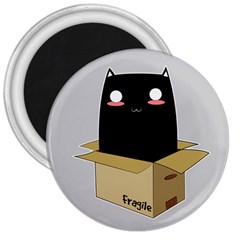 Black Cat In A Box 3  Magnets by Catifornia