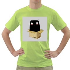 Black Cat In A Box Green T Shirt by Catifornia