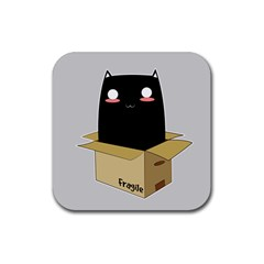 Black Cat In A Box Rubber Square Coaster (4 Pack)  by Catifornia