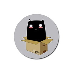 Black Cat In A Box Rubber Coaster (round)  by Catifornia