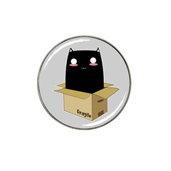 Black Cat In A Box Hat Clip Ball Marker by Catifornia