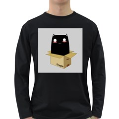 Black Cat In A Box Long Sleeve Dark T Shirts by Catifornia
