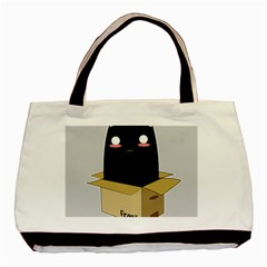 Black Cat In A Box Basic Tote Bag by Catifornia