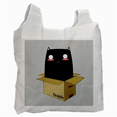 Black Cat In A Box Recycle Bag (two Side)  by Catifornia