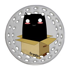Black Cat In A Box Round Filigree Ornament (two Sides) by Catifornia
