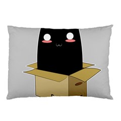 Black Cat In A Box Pillow Case (two Sides) by Catifornia