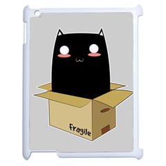 Black Cat In A Box Apple Ipad 2 Case (white) by Catifornia
