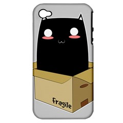 Black Cat In A Box Apple Iphone 4/4s Hardshell Case (pc+silicone) by Catifornia
