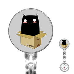 Black Cat In A Box Stainless Steel Nurses Watch by Catifornia