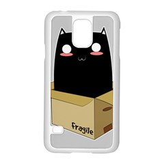 Black Cat In A Box Samsung Galaxy S5 Case (white) by Catifornia