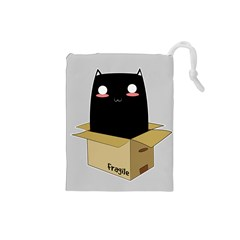 Black Cat In A Box Drawstring Pouches (small)  by Catifornia