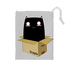Black Cat In A Box Drawstring Pouches (large)  by Catifornia