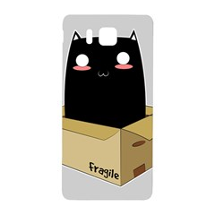 Black Cat In A Box Samsung Galaxy Alpha Hardshell Back Case by Catifornia