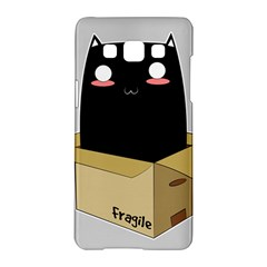 Black Cat In A Box Samsung Galaxy A5 Hardshell Case  by Catifornia