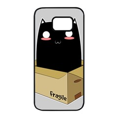 Black Cat In A Box Samsung Galaxy S7 Edge Black Seamless Case by Catifornia