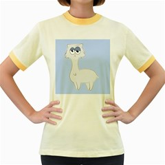 Grumpy Persian Cat Llama Women s Fitted Ringer T Shirts by Catifornia